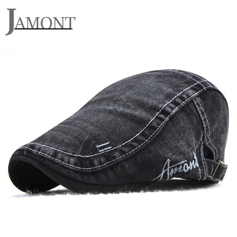 82d95ce56d8 JAMONT Denim Beret Cap Jean Beret Hats Casual Washed Peaked Caps Men ...