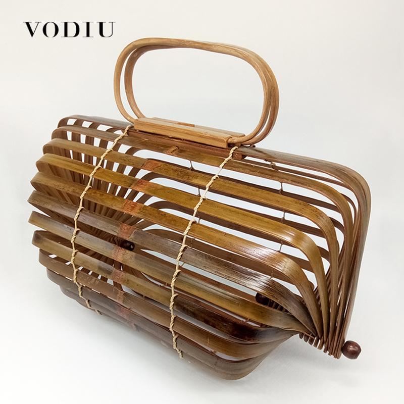 14a211615 Compre Top Handle Bags Boho Bolsa De Bambu Bolsa Feminina Bolsa Oco Out  Handmade Tecido Design Famosa Marca Mulheres Embreagem Saco Da Praia Do  Verão De ...