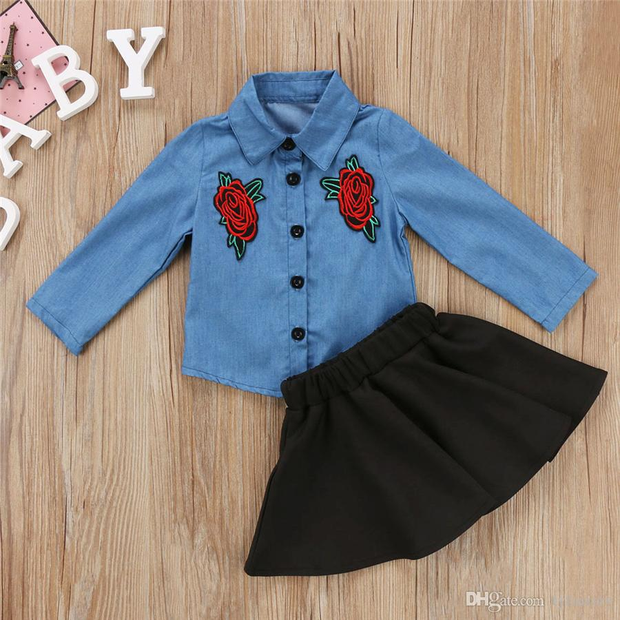 New Kids Baby Girls Dresses Outfit Floral Denim Shirt Tops +Tutu Black Skirt Two-piece a Set Clothes Kid Girl Toddler Boutique Clothing 1-6Y