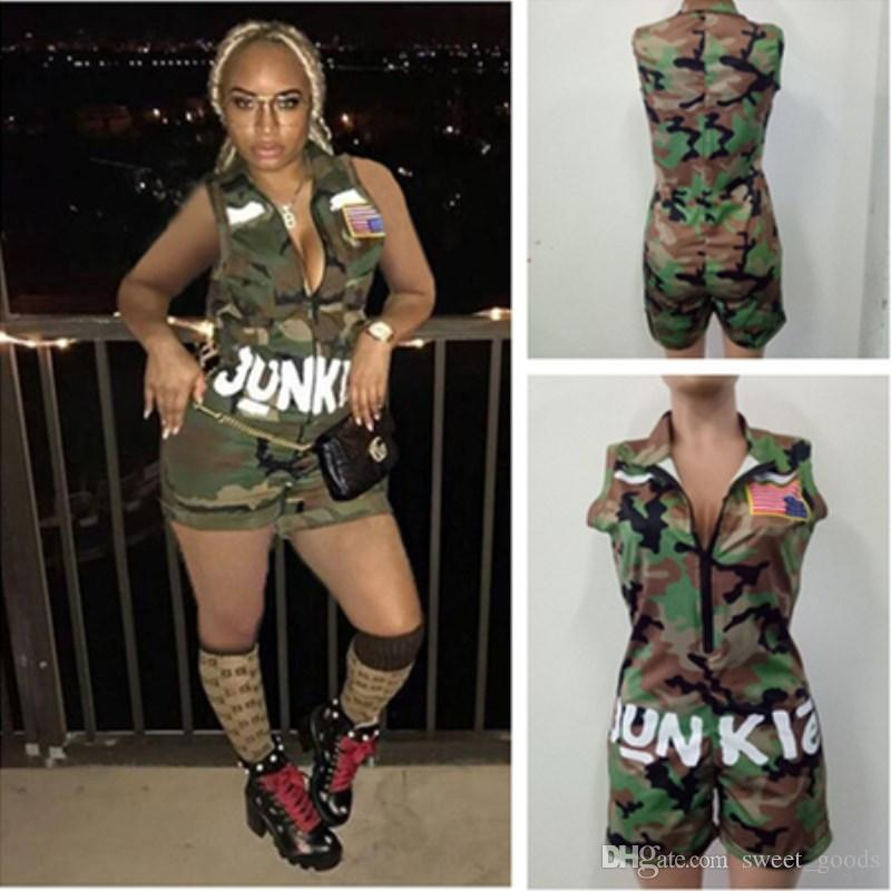79c94637c531 2019 Sexy One Piece Junkie Women Wide Leg Jumpsuit Sleeveless Knee Length  Comoflog Color Siamese Trousers With Flag Street Hop Hop Camo Jumpsuits  From ...