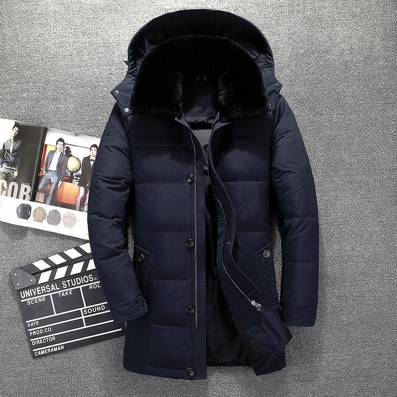 Großhandel Russland Winter Jacke Für Männer Hohe Qualität Pelzkragen Langen  Mantel Marke Dicke Warme Herren Daunenjacke Doudoune Homme Wind Hut Unten  Von ... 895080eaa1