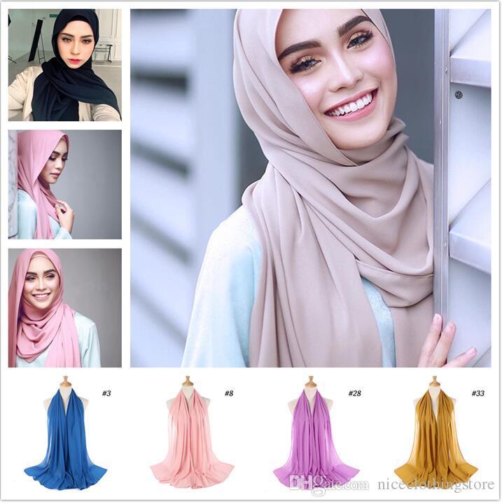 fd8ddabe196f Acheter Femmes Foulard En Mousseline De Soie Foulard Hijab Wrap Printe  Couleur Unie Châles Bandeau Musulman Hijabs Foulards   Écharpe 47 Couleurs  De  2.62 ...