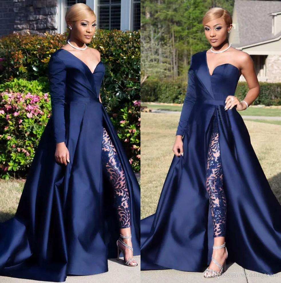Dark Navy Two Pieces Evening Dresses One Shoulder Long Sleeve Side Split Sequined Prom Gowns Pants Jumpsuits A Line Plus Size Formal Dress