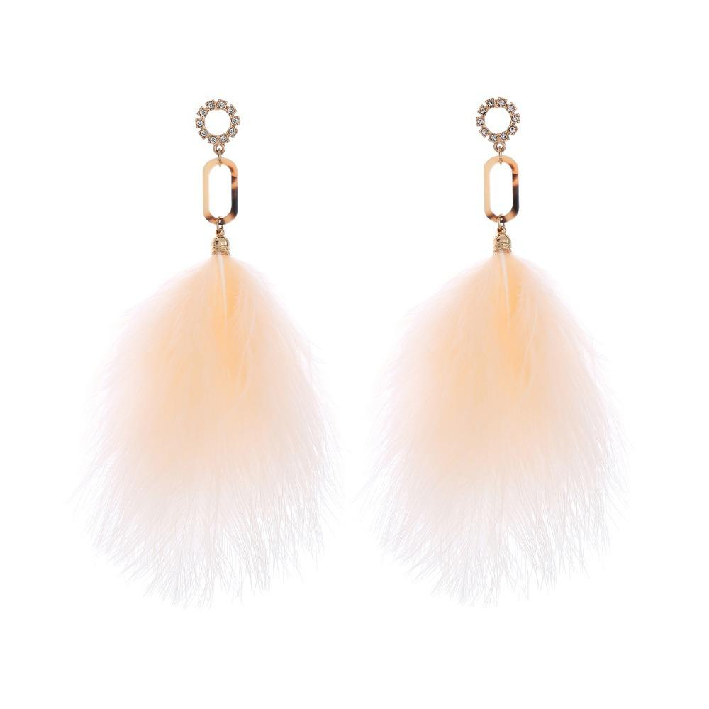 4ed20c2973 2018 Unique Oversize Pink Feather Drop Earrings For Women Fashion  Rhinestone Flower Big Earrings Party Jewelry C18110801