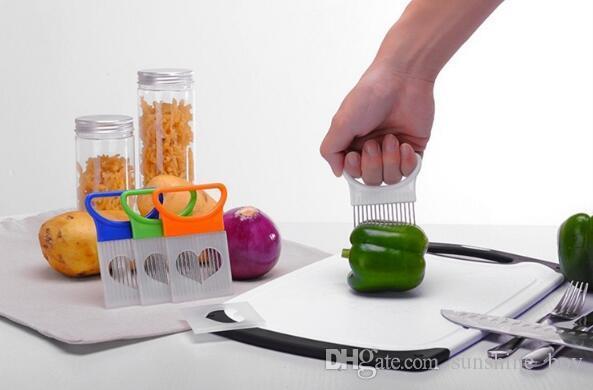Kolay Kesim Soğan Tutucu Çatal Paslanmaz Çelik + Plastik Sebze Dilimleyici Domates Kesici Metal Et Iğne Alet Et Frok Mutfak Araçları