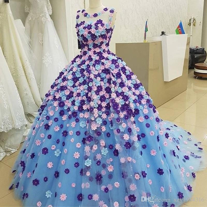 Wspaniałe 3d Płatki Suknie Wieczorowe Klejnot Neck Bez Rękawów Puszysta Tulle Balowa Suknia Party Sukienka Oszałamiająca Saudyjska Arabia Celebrity Suknie Wieczorowe
