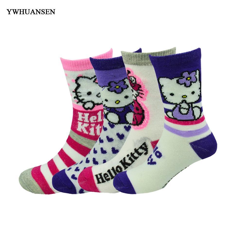 ac59b6157 YWHUANSEN Cute Hello Kitty Socks For Girls High Quality Cotton Children  Socks Fashion Striped Kids Toddler Cartoon Comfy Wool Socks Cool Printed  Socks From ...