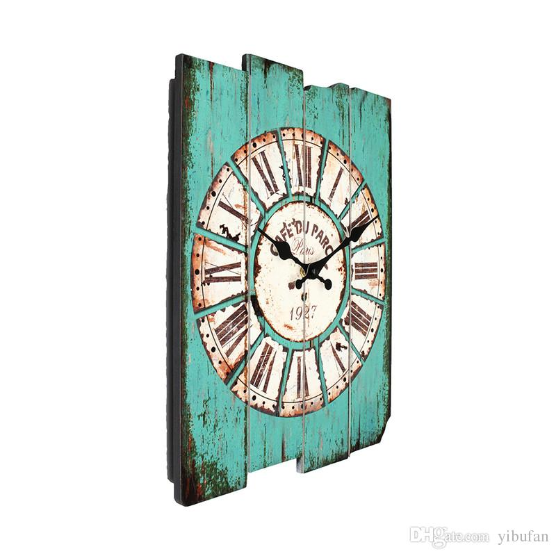 Diameter 29cm Vintage Rustic Wooden Office Kitchen Home Coffeeshop Bar Large Wall Clock Decor 41x35x45cm