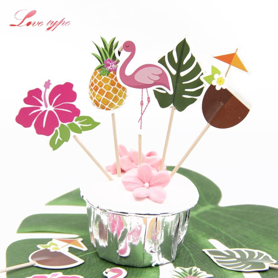Grosshandel Vent Kuchen Dekorieren Supplies Hawaiian Flamingo Thema Kuchendeckel DIY Cupcake Topper Rosa Fur Sommer Party Dekoration Hochzeit
