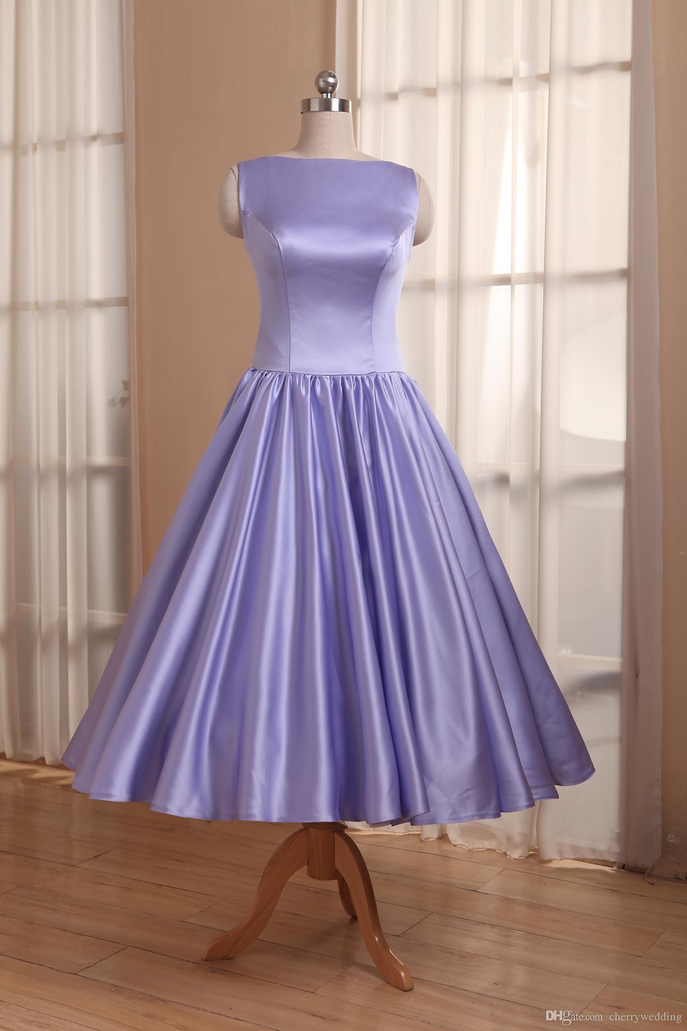 Elegante Tee-Länge Brautkleider High Neck Satin Short Brautkleider Brautjungfernkleider Partykleid 50er Jahre Brautkleid RLL0004