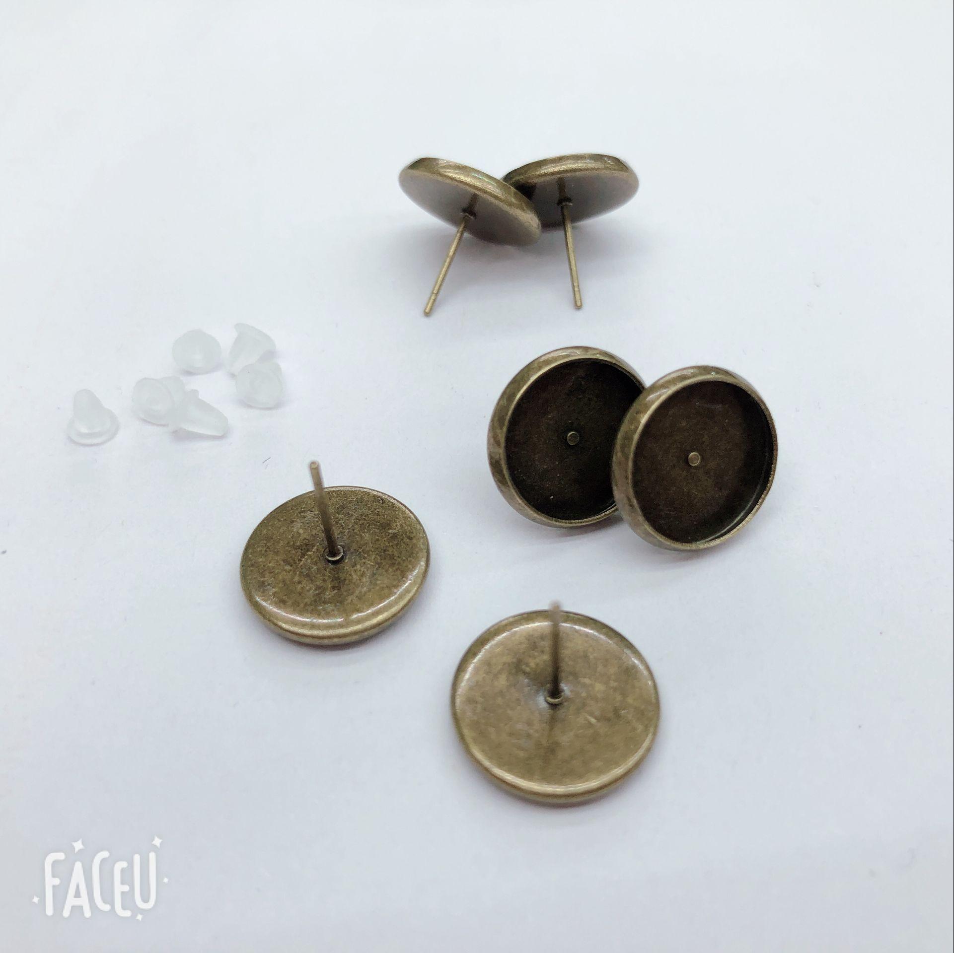 Fri frakt inuti diameter mässing pläterad 12 m i Qing Ancient 200 PSC Stud örhängen kan sätta pärlorna och plastproppar