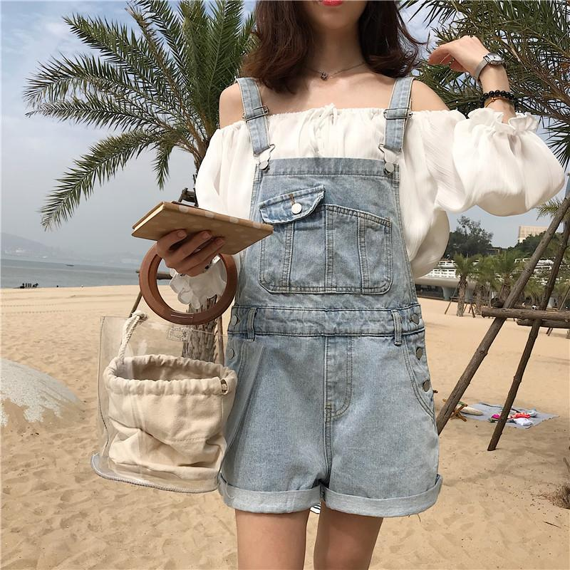 2d3b4b00b8 2019 Short Denim Jumpsuit 2018 New Romper Women Summer Overalls Casual  Jeans Short Playsuits Details Slim Dungarees Femme From Dalivid