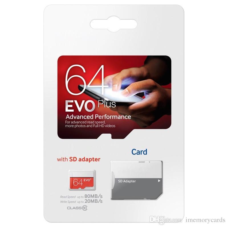 2018 핫 화이트 에보 플러스 + 80MB / S 90MB / S32GB64GB128GB256GB C10 TF 플래시 메모리 카드 클래스 10 무료 SD 어댑터 소매 블리스 터 패킷
