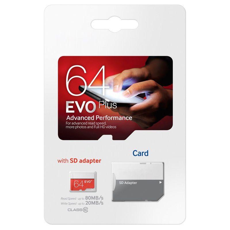 2018 뜨거운 판매 화이트 evo 플러스 + 80MB / s 90MB / s32gb64gb128gb256GB C10 TF 플래시 메모리 카드 클래스 10 무료 SD 어댑터 소매 블리스 터 패키지