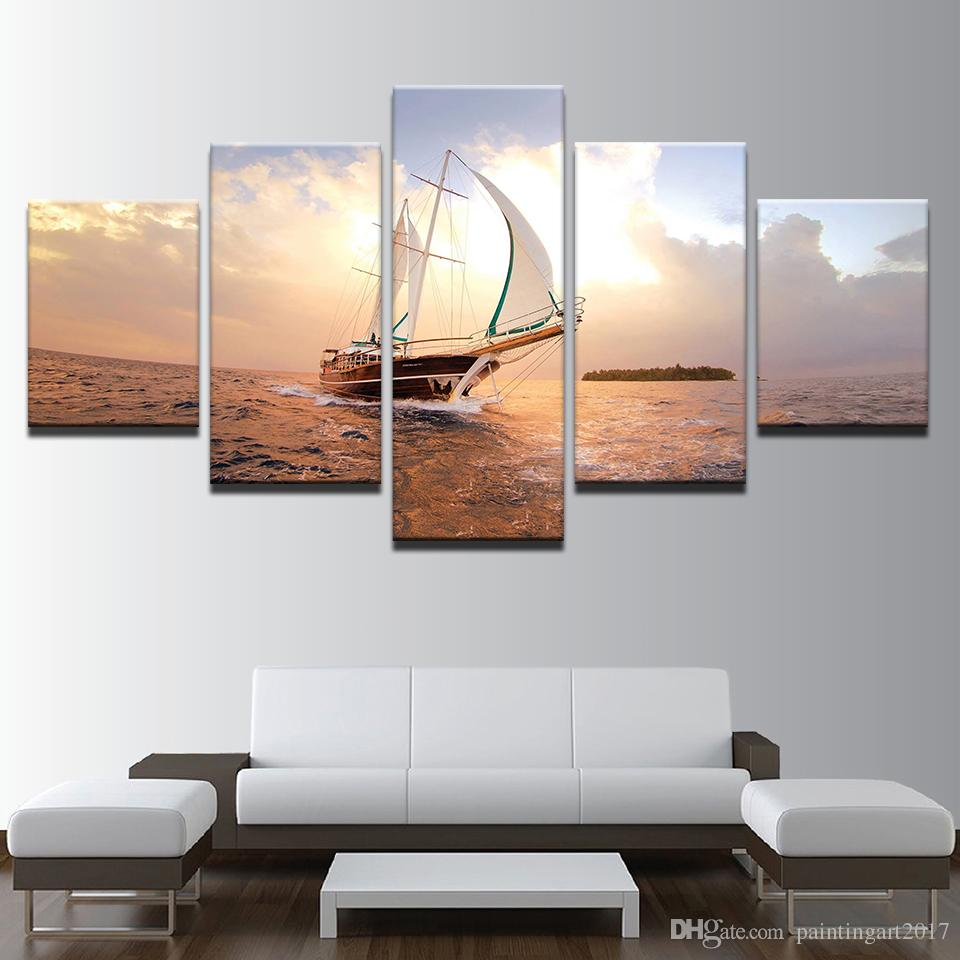 HD Prints Pictures Modular Canvas Wall Art Frameless 5 Pieces Sunset Sailboat Seascape Paintings Home Decor Boat Sailing Posters