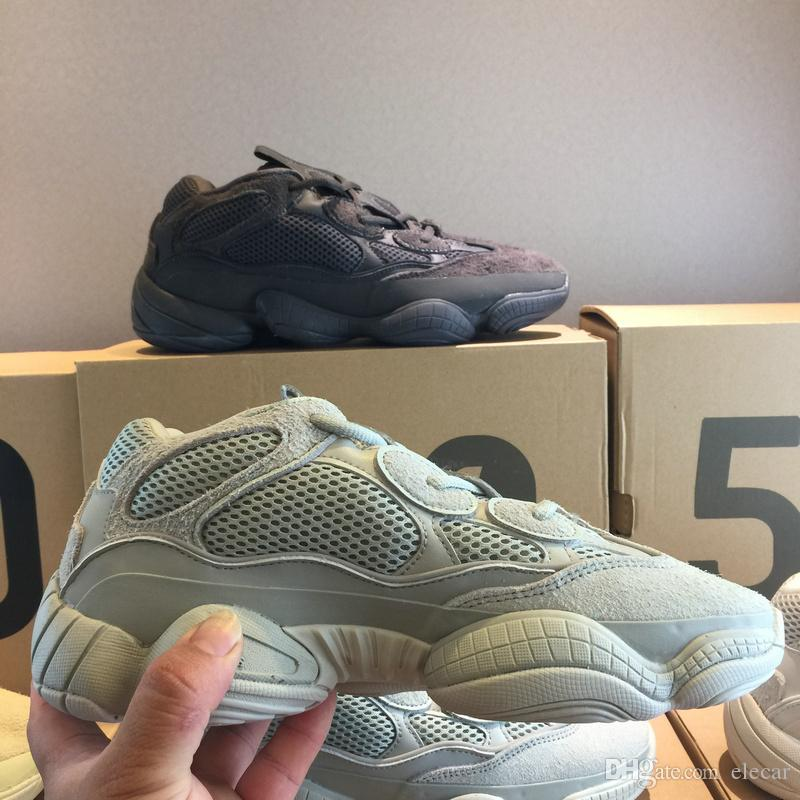 d164255faba 2019 Desert Rat 500 Salt EE7287 Designer Shoes Mens Womens Kanye West 2019  New Super Moon Yellow Trainers Utility Black Blush Running Boots From  Elecar