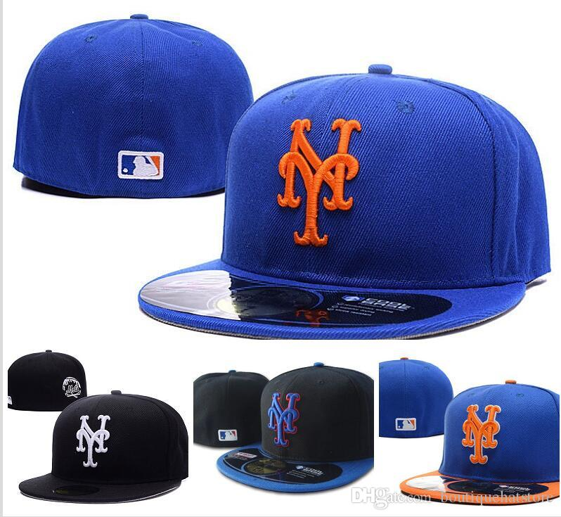 8fdae8ba571 Wholesale 2018 Men S Fitted Hat Flat Brim Embroiered Team Ny Logo Fans  Baseball Hat Top Quality Full Closed Chapeu Brands Women Kangol Baseball  Caps From ...