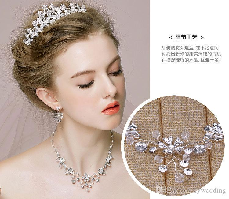 2018 Luxury flowers Bridal Accessories Crystal Diamond Necklace water drop Earring Accessories Wedding Jewelry Sets Fashion jewelry Hot Sale