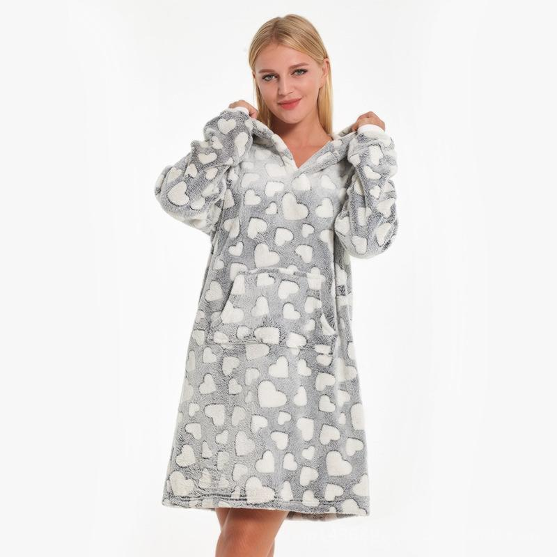 48d1f176aa 2019 Heart Print Coral Fleece Nightdress Women Hooded Pijama Mujer Slipover  Bathrobe Winter Babydoll Nighty Gary Night Dress Nightie From Blairi