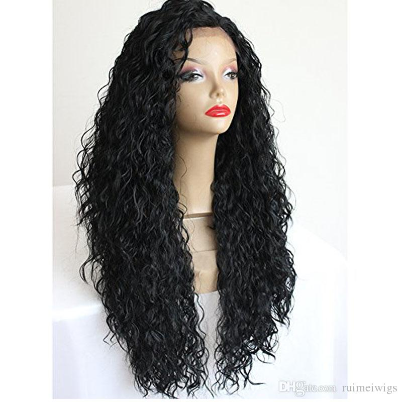 Japanese Hair Heat Resistant Fiber Long Black Curly Synthetic Lace Front Wigs  Afro Kinky Curly Synthetic Wigs For Black Women Lace Wigs Online Remy Lace  Wig ... 675b80111