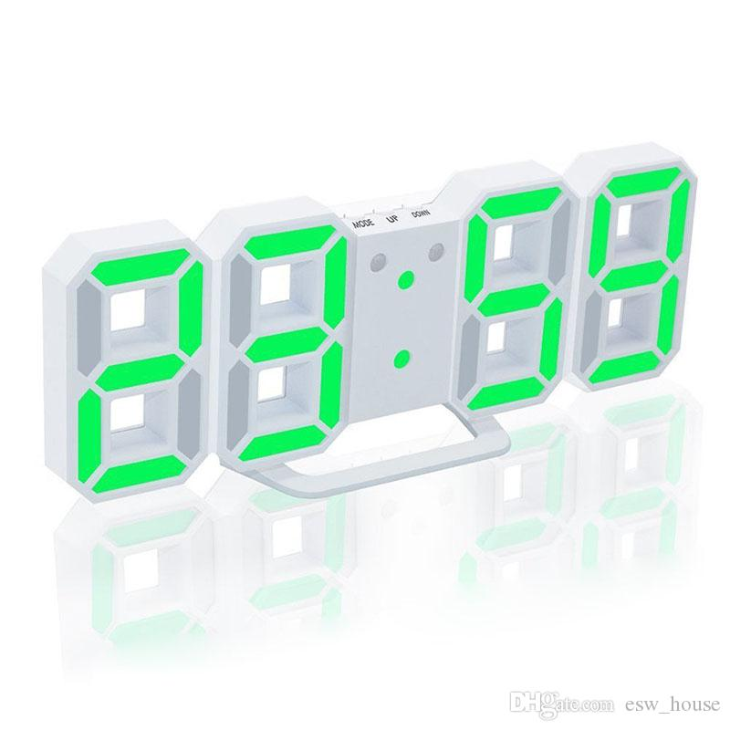 Orologi da parete moderni Orologi da tavolo LED Orologi colorati Orologi da 24 o 12 ore Allarme Snooze Sveglia Home Room Decor