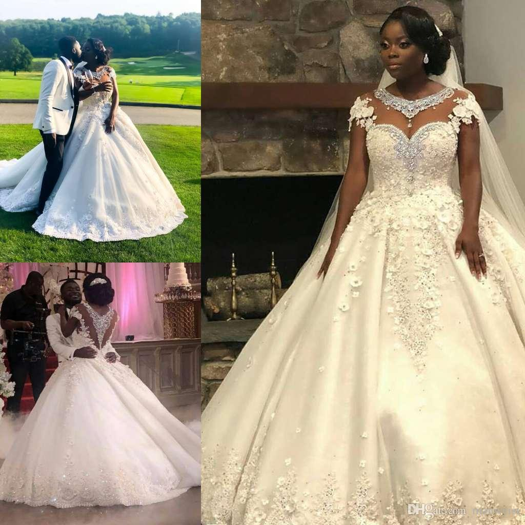 2019 Ball Gown Wedding Dresses: Modest Lace Ball Gown Wedding Dresses 2019 New Style
