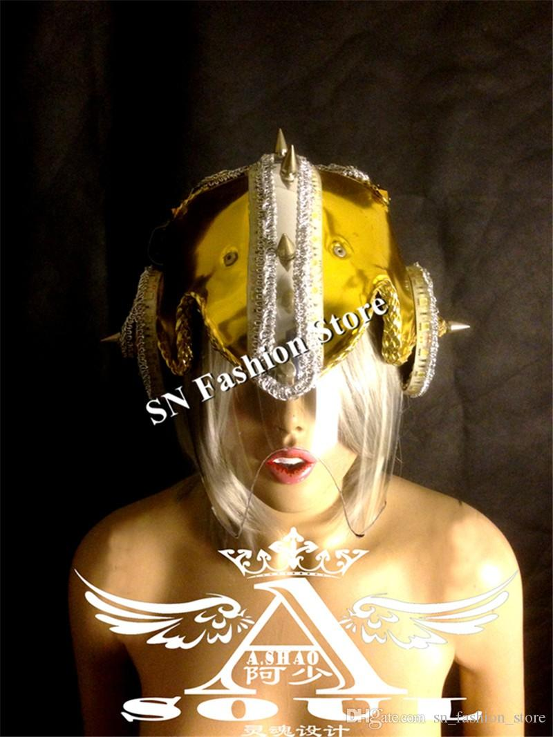 WX36 LED light Luminous Helmet Glowing ballroom dancing cloth LED robot helmet party bar supplies gold silver mirror costume performance bar