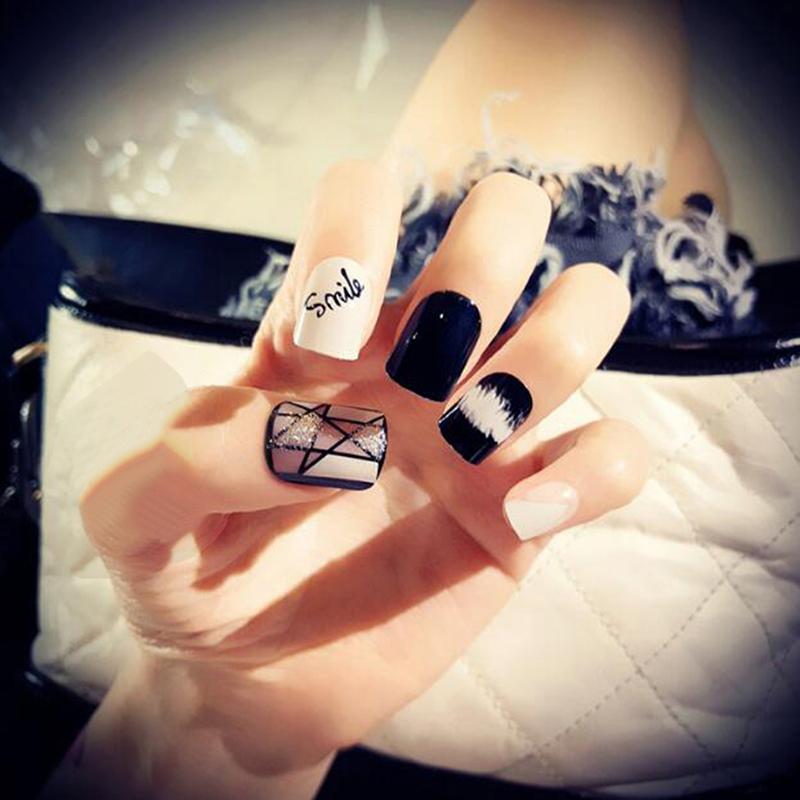 Blackwhite Designed Nails Short Fake Nails Nail Gel Polish False