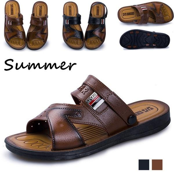 06b498d84ebfde New Summer Fashion Open Toe Slippers Men Beach Shoes Outdoor Antiskid  Leather Sandals Silver Shoes Mens Sandals From Pakjjjj