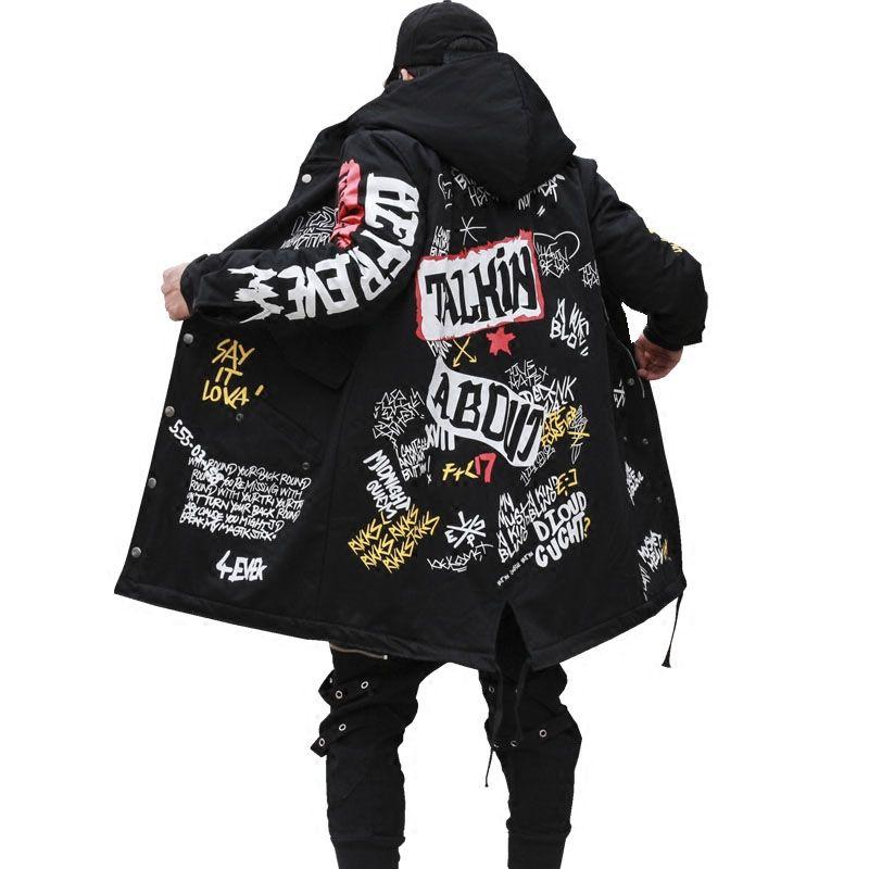 1a328488d693 2017 Winter Men's New Parkas jacket Graffiti Print Hooded Cotton Wadded  Coats High Street Hip Hop Long padded Thick Outerwear