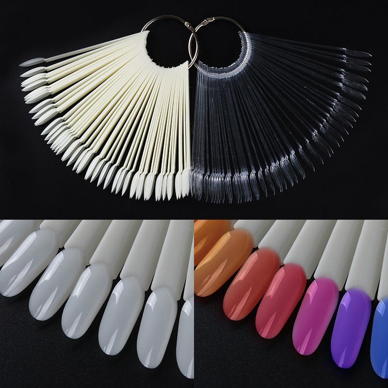 50 Pcs Oval-shaped Fan False Nail Tips Transparent Natural Color Card Manicure DIY Nail Art Practice Display Tool Accessory