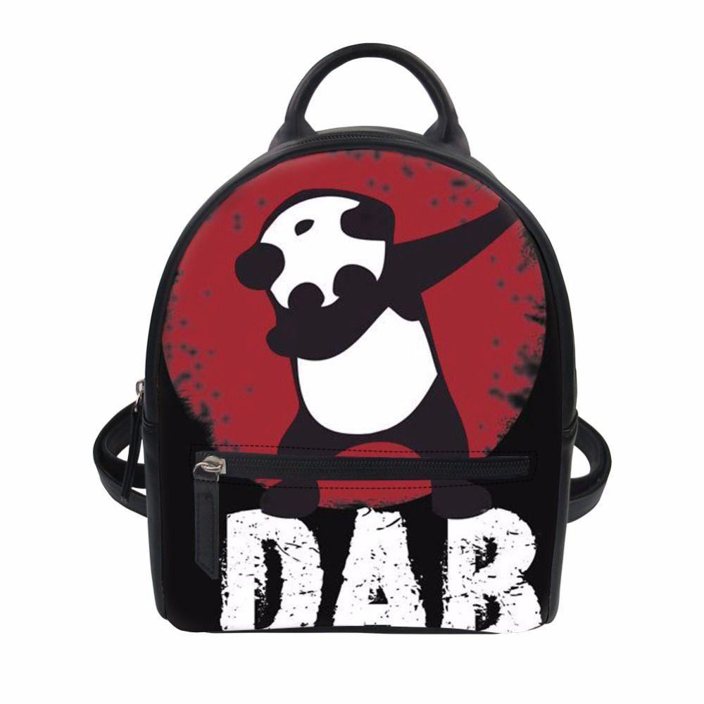 1ea9e09c79db Fashion Women Backpack Dabbing Panda Printing Mini Backpack Lady Pu Leather  For Girls Rucksack Travel Bag Customized