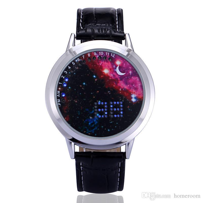 LED Sky Star Touch Screen Watches Men Women Unisex Creative Starry Star Moon Wristwatch LED Digital Watch