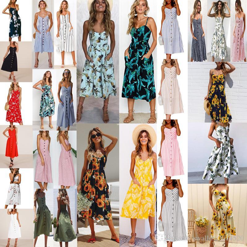9873f26730 29 Styles Women s Summer Boho Casual Long Maxi Evening Party Cocktail Beach  Dress Sundress Print Flower Sleeveless Sexy Backless Strap Dress