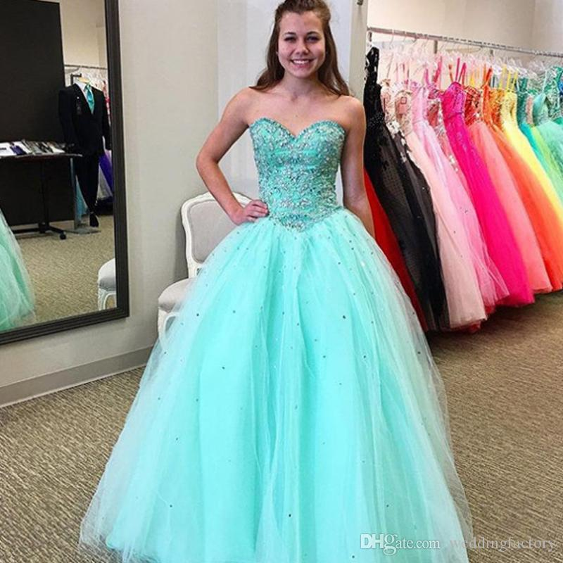 dc52e5429ca 2018 Aqua Blue Quinceanera Dresses Beaded Lace Appliques Sweet 16 Dress  Sweetheart Neckline Sleeveless Formal Prom Party Gowns Tulle Skirt Nice  Dresses One ...
