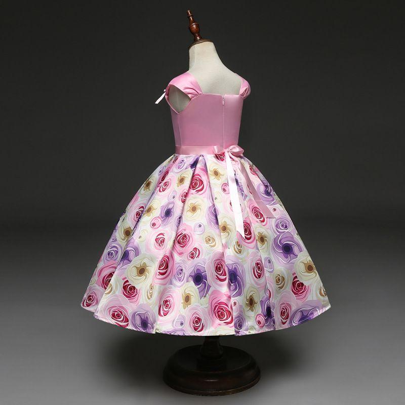 dress 2018 summer Korean style new arrivals Girls Fine flower printed bowknot sleeveless princess Dress