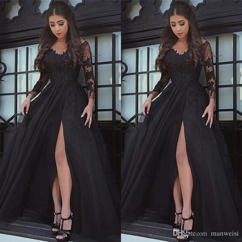 1b1f2d1ed03 Designer 2018 Black Side Split Prom Dresses Sexy Sheer Crew Neck Lace  Appliqued Evening Gowns Plus Size Formal Party Dress Prom Dress Store Prom  Dress ...