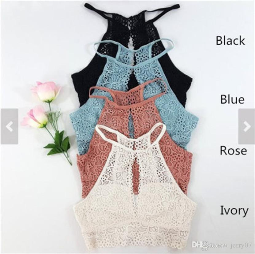 Lady Blusas Sexy Crochet Top Vintage Boho Bralette Halter Crop Tops