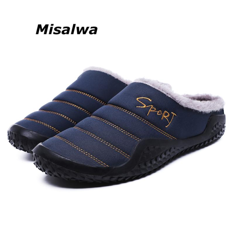 ec1349c4f2b Misalwa Big Size Men Sliper Winter Daily Indoor Fur Lined Warm Slippers  Convenient Easy To Wear Off Antiskid Casual Shoes Desert Boots Mens Slippers  From ...