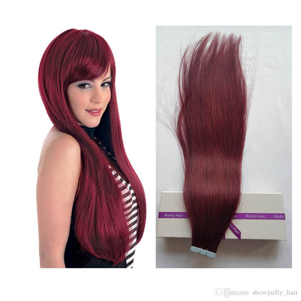 Wine Red Burgundy Remy Tape In Human Hair Extensions 10a Grade