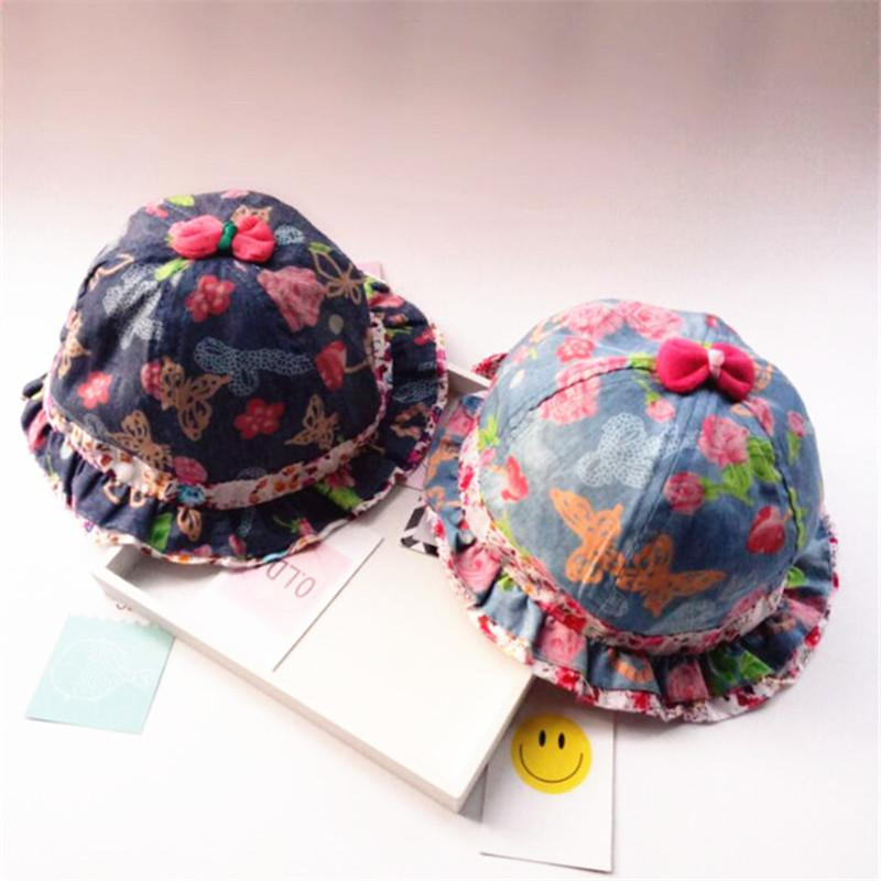 Floral Baby Girls Hat Beautiful Denim Cotton Fitted Sunhat 3-24 Months Children Bucket Hats Baby Girls Clothing Gorros