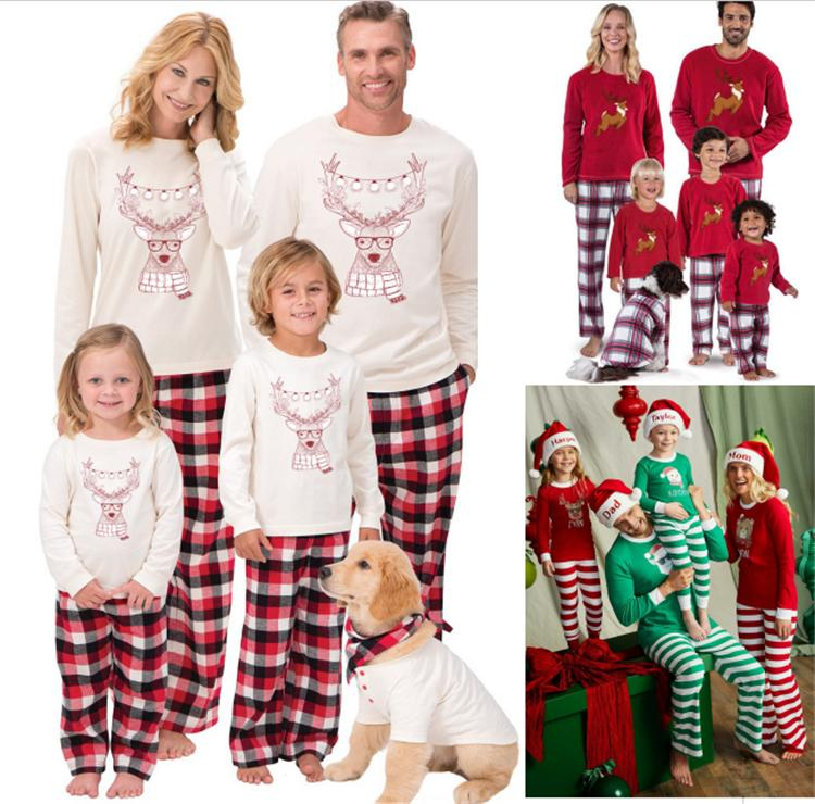 158b384a6 Xmas Kids Adult Family Matching Pajamas Christmas Deer Elk Plaid ...
