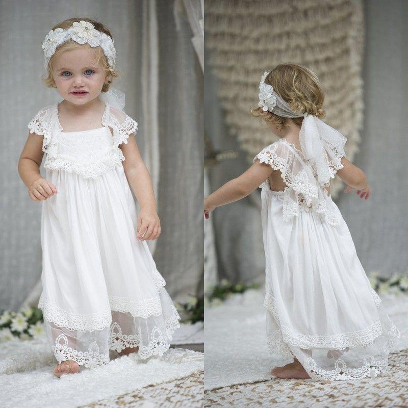 959055a912 Lovely 2018 Beach Boho Flower Girl Dresses For Weddings Cheap Short Sleeve  Square Cris Cross Back Lace Tulle Christening Gowns EN12133 Bridal Shoes  Cheap ...