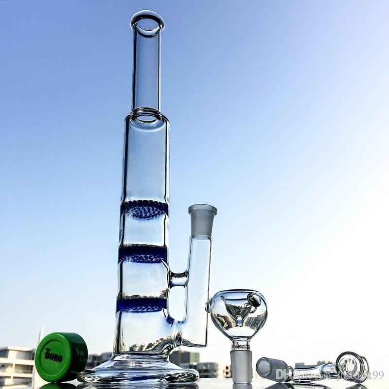 Dab Oil Rigs Straight Tube Bong Water Pipes 14mm Joint With Bowl Quartz Banger Three Honeycomb Perc Two Function Glass Water Bongs Waterpipe