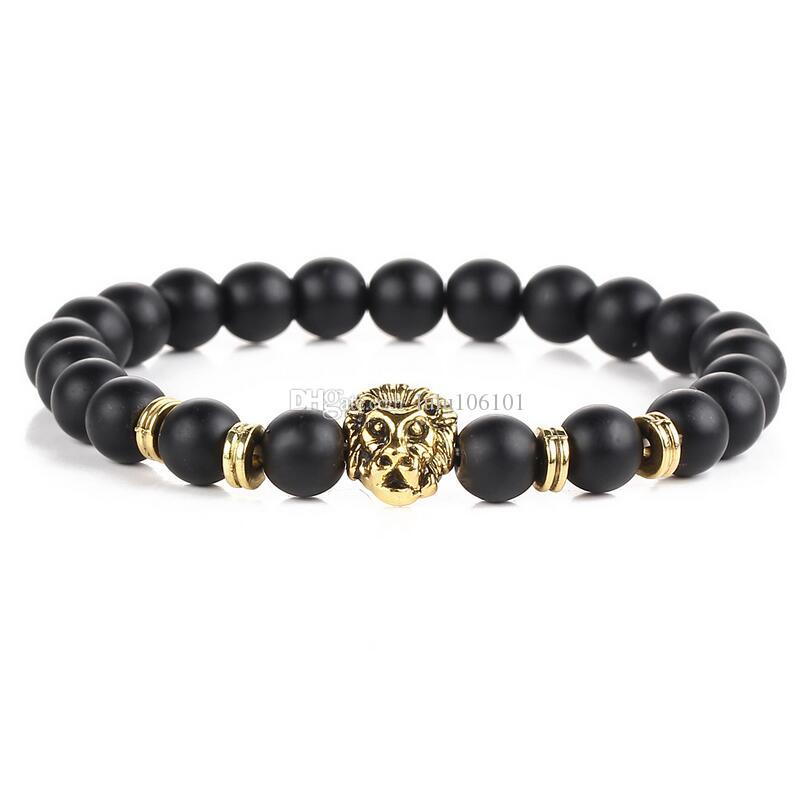 Black Lava Natural Stone Gold Color Lion strand Bracelet Femme Ethnic Handmade Beads Bracelets Turkish Men Jewelry
