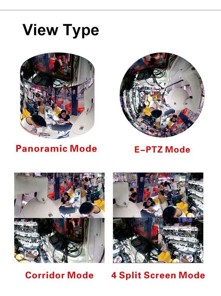 Panorama Fischauge 180-Grad-Objektiv Wireless Wifi 3D VR drahtlose WiFi-Netzwerkkamera 2-Wege-Audio-Aufnahme Alarmfunktion