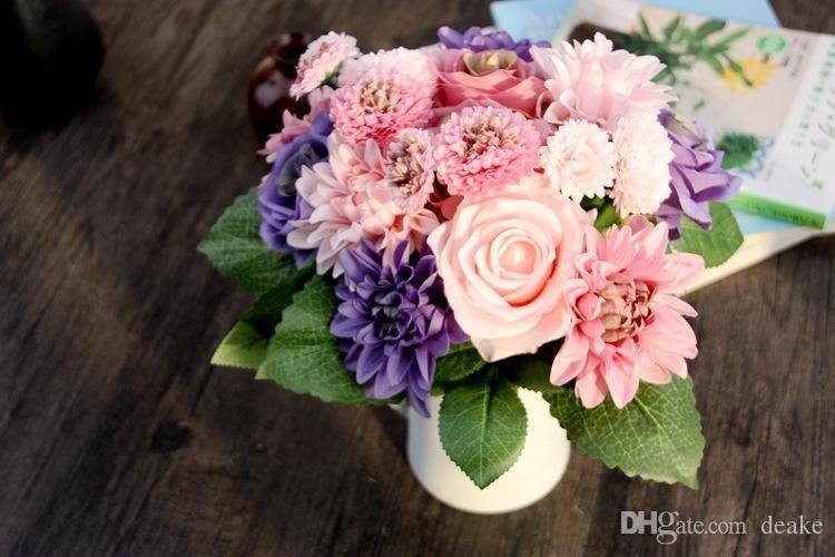 2019 Wholesale Silk Flower Wedding Bouquet Roses Dahlias Artificial