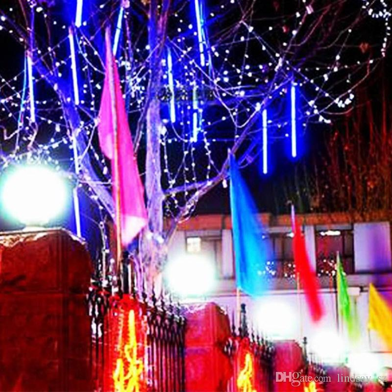 2019 30cm Led Snowfall Led Strip Christmas Lights Meteor Shower Falling Star Rain Drop Icicle Snow Fall Xmas Fairy Light 100 240v From Lindsay Sz