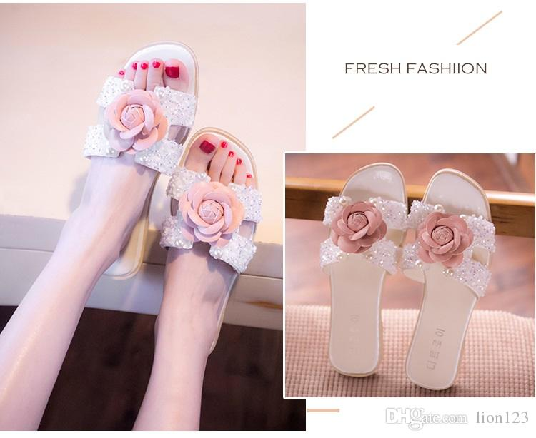 9998d029185580 Handmade Camellia Slippers Rhinestone Beaded Flat Slippers Fashion Flower Flip  Flops Sandals Crystal Transparent Jelly Shoes Pearl String Solid Slippers  ...