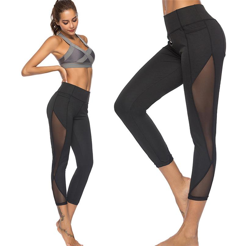 fb488ad0f918e 2019 Women Yoga Pants Sexy Mesh Stitching Workout Leggings Fitness High  Waist Gym Sport Pants Running Leggings Women From Seanliugao, $6.34 |  DHgate.Com
